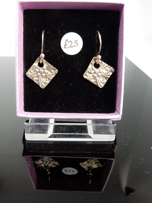 Silver Clay middle of flower imprint Earrings