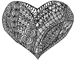 Black and white val heart