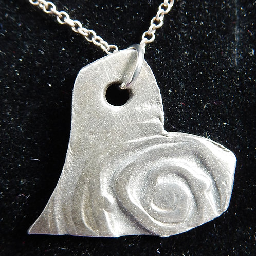 Silver Clay Heart Pendant with rose spiral imprint