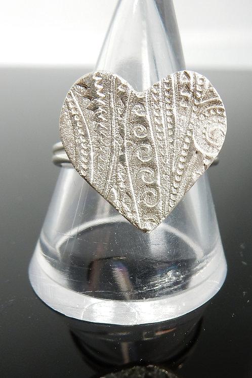 Heart Spiral Ribbons pattern imprinted Silver ClayRing