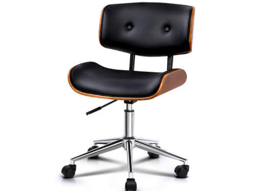 Wooden & PU Leather Office Desk Chair