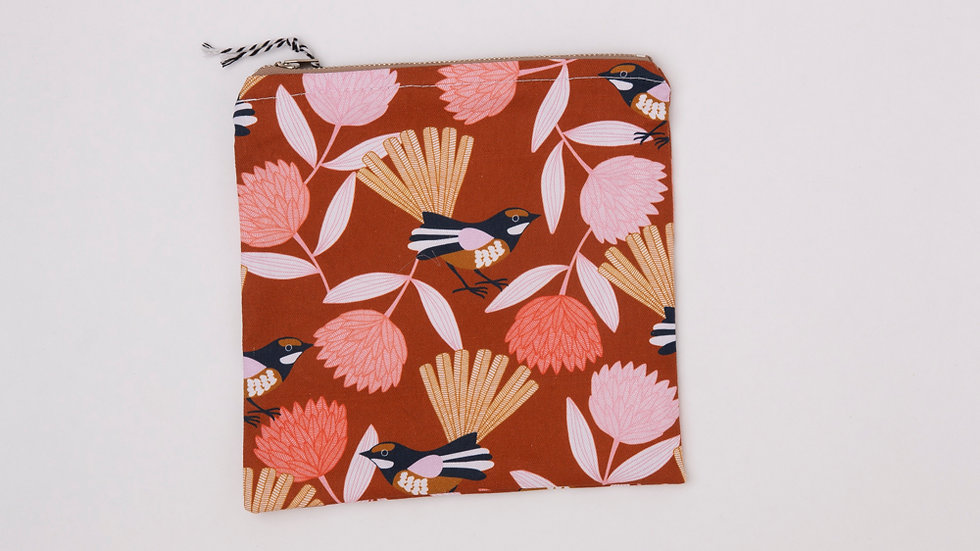 Fabric Pouch - willy wagtail (L)