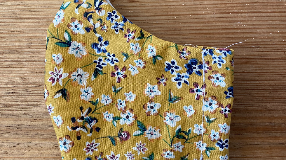 Cotton Mask (mustard floral)