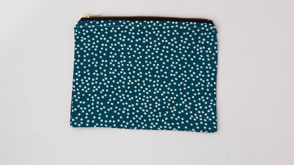 Fabric Pouch - Blue Spots (L)