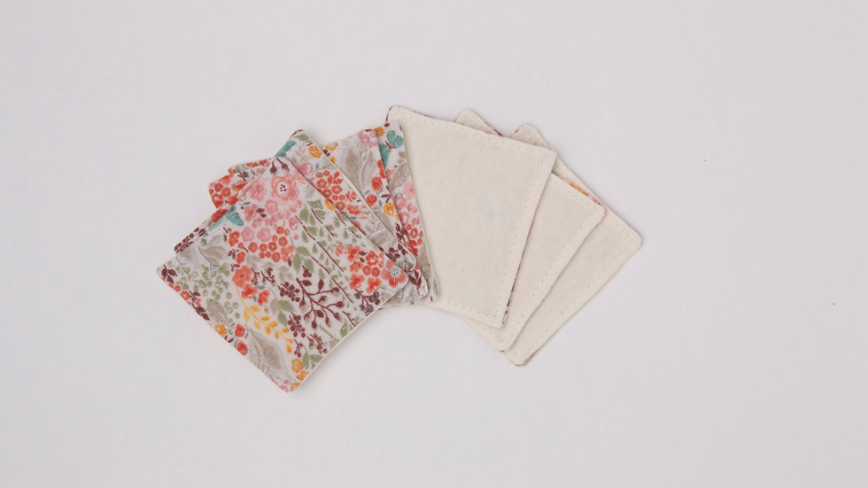 Reusable makeup wipes - Rainbow floral