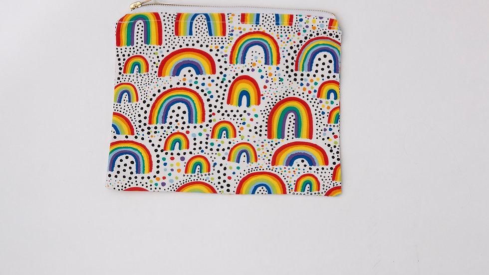 Fabric Pouch - Bright Rainbows (L)