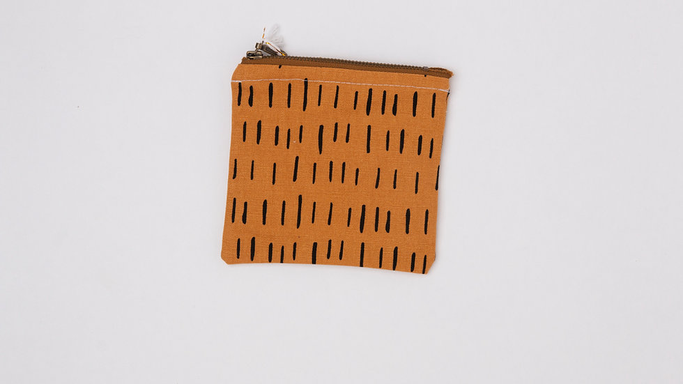 Fabric Pouch - Mustard dashes (S)