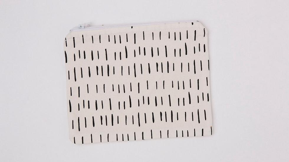 Fabric Pouch - White Dash (L)