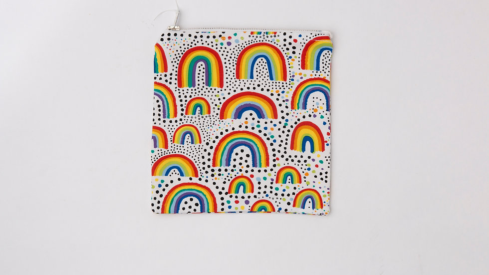 Fabric Pouch - Bright Rainbows (M)