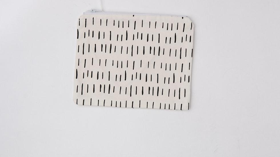 Fabric Pouch - Black and White Dash (L)