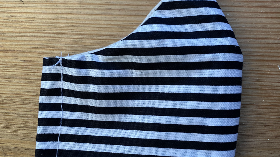 Cotton Mask (black and white stripes)