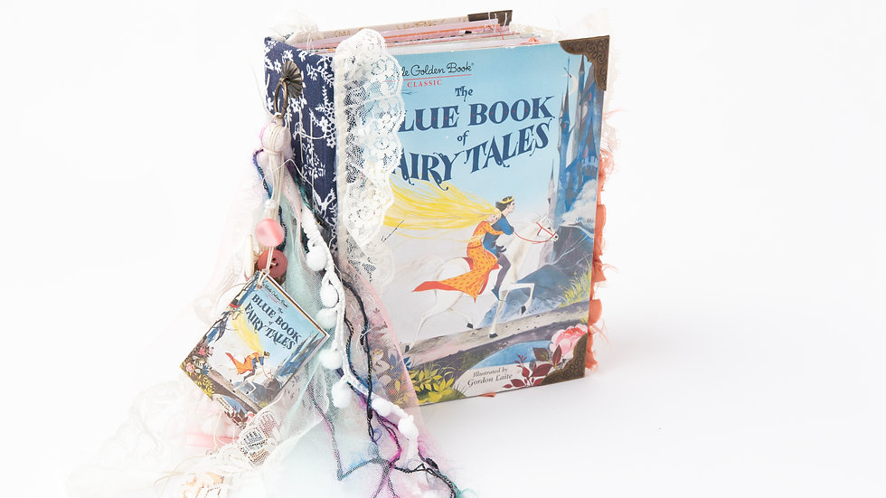 The Blue Book of Fairy Tales -  Little Golden Book Junk Journal {LARGE}