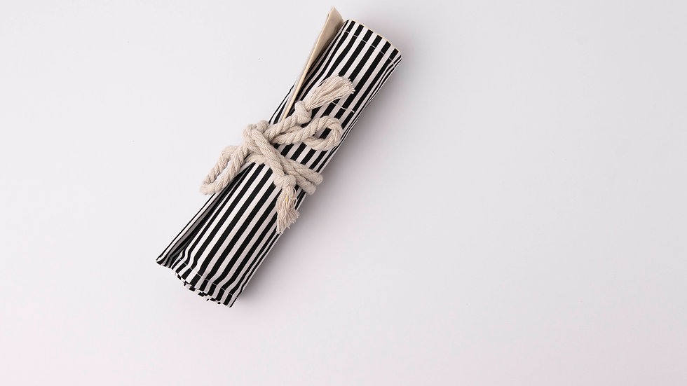 Pencil Roll - black and white stripes