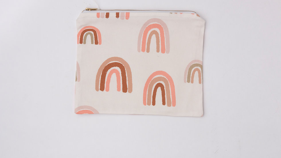 Fabric Pouch - Pastel Rainbows (L)