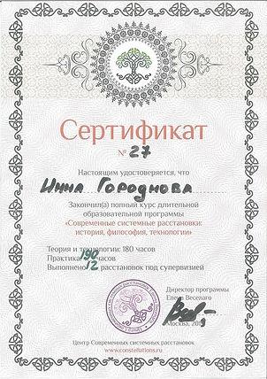 Сертификат об окончании курса Елены Веселаго