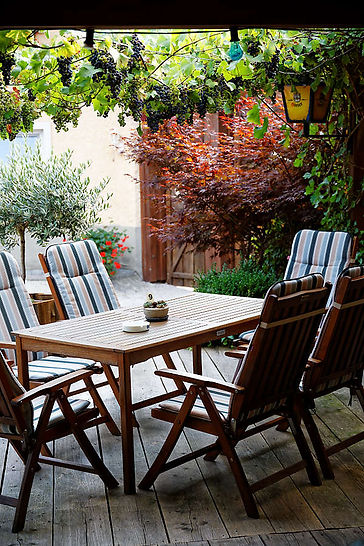 Essen im Freien unter der Weinrebe