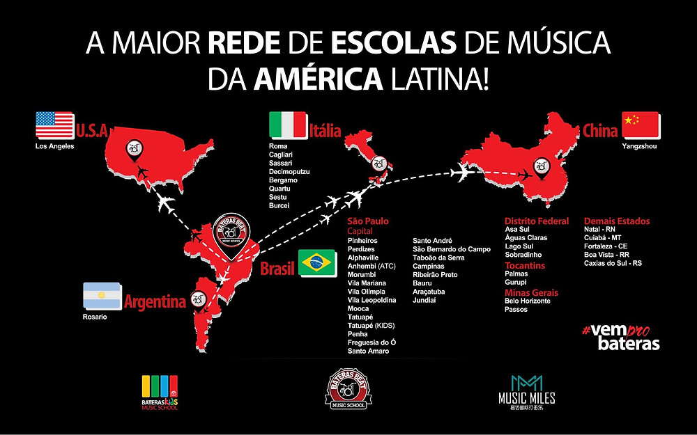 Mapa Rede de Franquias Bateras Beat Music School