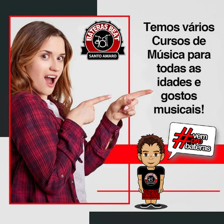 Aulas de Música para todas as idades, estilos ou gosto musical. Só no Bateras Beat Santo Amaro!