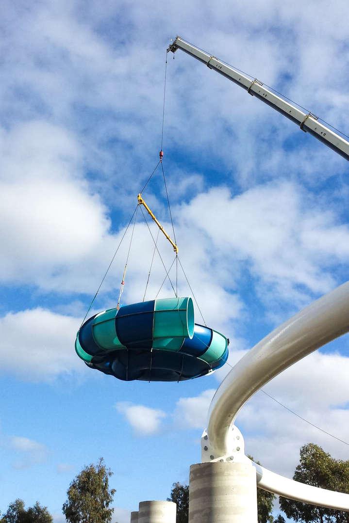 Associated Rigging Crane Hire - Slide installation