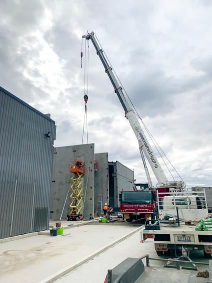 AR Cranes Bellarine Foods Precast Panel Erection