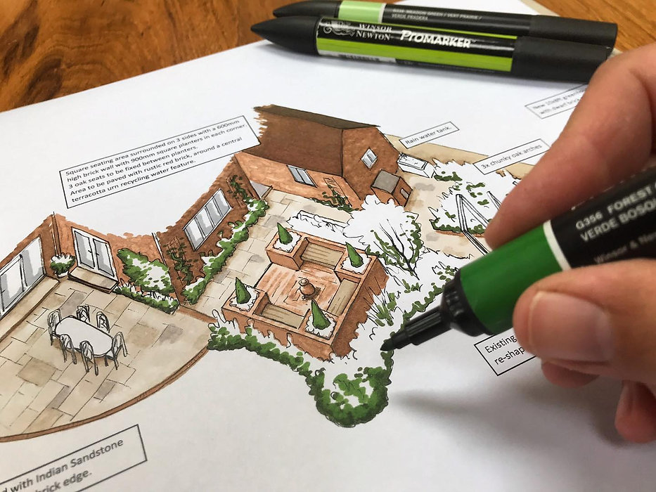 hand drawn garden design rendering