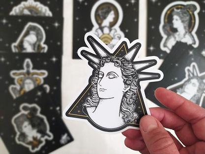Greek Goddess vinyl stickers, ancient Greek mythology stickers, hellenic polytheism stickers, Persephne vinyl sticker, Hecate vinyl sticker, Apphrodite vinyl sticker, Artemis vinyl sticker, Selene vinyl sticker, Demeter vinyl sticker, Athena vinyl sticker