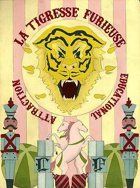 la tigresse furieuse, Victorian lowbrow art, new surrealism, occult art, dark surreal art, dark romantic illustration, victorian goth illustration, witch art, conceptual art, dark fairytale aesthetic, victorian witch, eclectic, tiger illustration, victorian circus animal, side show poster, freak show poster art