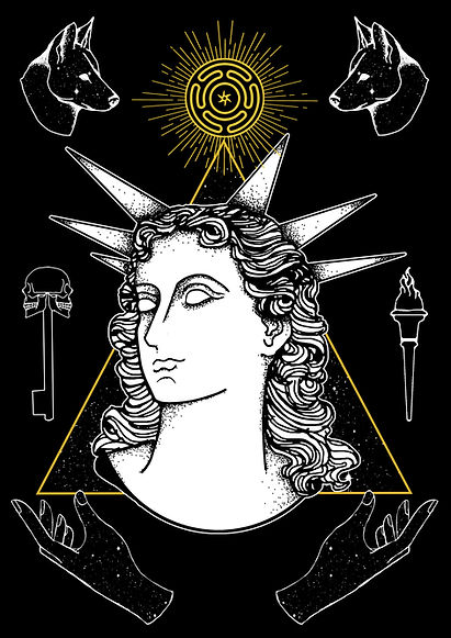 HECATE, The Greek Goddess associated with night, light, magic, witchcraft, knowledge , ghosts, necromancy, and sorcery is depicted here with some of her most prominent symbols : dogs, torches, keys, and Hecate's wheel. The triangle represents her triadic nature.Greek goddess illustration, Greek mythlogy art, hellenic pagan, Greek goddess symbols, Neopagan, Greek wicca,  Greek pagan, pagan goddess, ancient Greece, hellenic polytheism