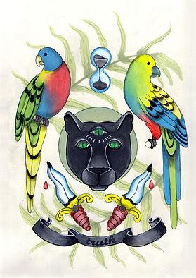 Victorian lowbrow art, new surrealism, occult art, dark surreal art, dark romantic illustration, victorian goth illustration, witch art, conceptual art, dark fairytale aesthetic, victorian witch, eclectic, occult victorian, victorian colonialism, traditional tatto art, victorian tattoo, three eyed cat, exotic animal illustration, truth illustration, mystical animal art