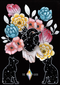 Victorian lowbrow animal art, new surrealism illustration, occult cat art, dark surreal floral art, dark romantic anatomical heart illustration, floral goth illustration, witch cat art, colorful conceptual art, dark fairytale aesthetic, victorian witch, eclectic witch art, star cats,  anatomical star heart, occult floral art, occult animal symbolism, esoteric art, cryptic