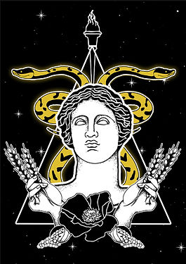 Demeter is the goddess of the harvest and agriculture, presiding over grains and the fertility of the earth. The Roman equivalent is Ceres,Greek goddess illustration, Greek mythlogy art, hellenic pagan, Greek goddess symbols, Neopagan, Greek wicca,  Greek pagan, pagan goddess, ancient Greece, hellenic polytheism