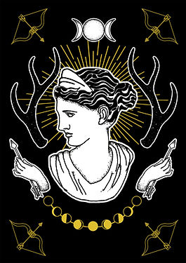 Artemis is the Greek Goddess associated with the hunt, the wilderness, wild animals, the Moon, and chastity. She is the equivalent of the Roman Diana,Greek goddess illustration, Greek mythlogy art, hellenic pagan, Greek goddess symbols, Neopagan, Greek wicca,  Greek pagan, pagan goddess, ancient Greece, hellenic polytheism