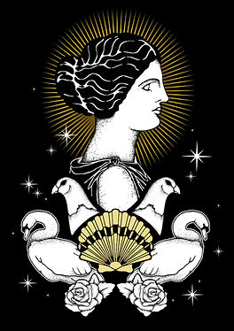 Aphrodite was the goddess of love, beauty, pleasure, passion and procreation. Aphrodite's symbols include roses, doves,mirrors,and swans,Greek goddess illustration, Greek mythlogy art, hellenic pagan, Greek goddess symbols, Neopagan, Greek wicca,  Greek pagan, pagan goddess, ancient Greece, hellenic polytheism