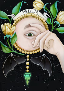the evil eye, Victorian lowbrow art, new surrealism, occult art, dark surreal art, dark romantic illustration, victorian goth illustration, witch art, conceptual art, dark fairytale aesthetic, victorian witch, eclectic, witchcraft, magick, magic, curse, anathema,occult symbolism, esoteric art, cryptic