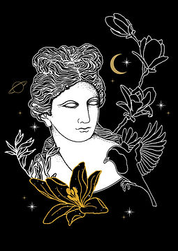 The Greek Goddess Persephone, daughter of Zeus and Demeter is the queen of the underworld -after her abduction by Hades- goddess of spring and the personification of vegetation,Greek goddess illustration, Greek mythlogy art, hellenic pagan, Greek goddess symbols, Neopagan, Greek wicca,  Greek pagan, pagan goddess, ancient Greece, hellenic polytheism
