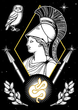 Athena, often given the epithet Pallas, is an ancient Greek goddess associated with wisdom, handicraft, and warfare. She was a warrion maiden, the daughter of Zeus ( born out of his forehead) and the patron of the city of Athens. She presided over the Athenai, a sisterhood devoted to her worship and the festival of Panathenaea was held in her honor. She is the equivalent of the Roman goddess Minerva,Greek goddess illustration, Greek mythlogy art, hellenic pagan, Greek goddess symbols, Neopagan, Greek wicca,  Greek pagan, pagan goddess, ancient Greece, hellenic polytheism