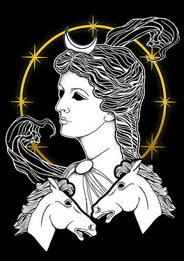 Selene, is the goddess of the Moon. Daughter of the Titans Hyperion and Theia and sister of the sun god Helios and Eos, goddess of the dawn. Selene was often identified with Artemis. Selene and Artemis were also associated with Hecate and all three were regarded as moon and lunar goddesses, but only Selene was regarded as the personification of the Moon itself. Her Roman equivalent is Luna,Greek goddess illustration, Greek mythlogy art, hellenic pagan, Greek goddess symbols, Neopagan, Greek wicca,  Greek pagan, pagan goddess, ancient Greece, hellenic polytheism
