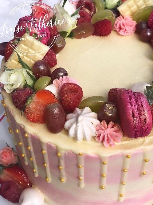 Raspberry & White Chocolate Drip Cake