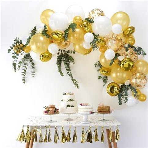 White & Gold Cloud Balloons
