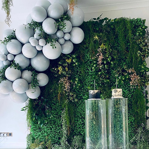 Balloons, Green Wall, Flowers, Cake Stand & Cake