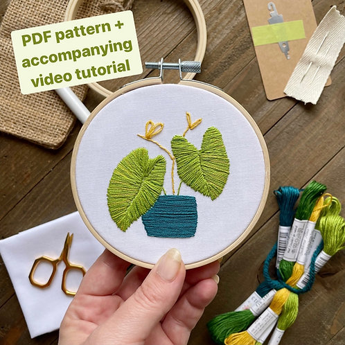 The Hopebroidery Box - August 2021! (Elephant Ears Plant Embroidery Pattern)