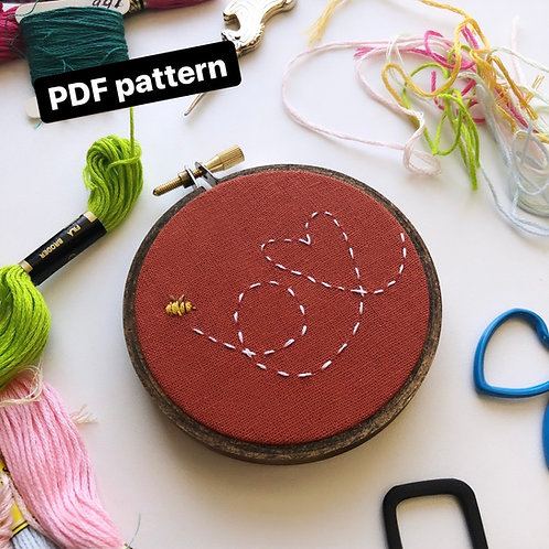 Flying Bee Embroidery Pattern