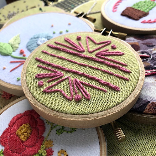 """""""hearts"""" DIY mini hand embroidery kit with accompanying video tutorial"""