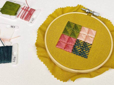 Crossed corners cushion stitch