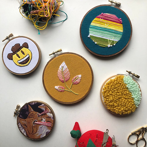 A variety of finished embroidery hoops!
