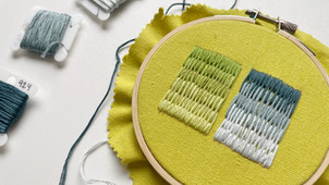 Using brick stitch to blend different colors of floss