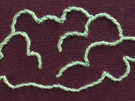 Following a curve with whipped back stitch