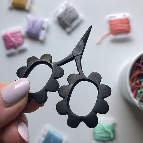 Black Flower Embroidery Scissors