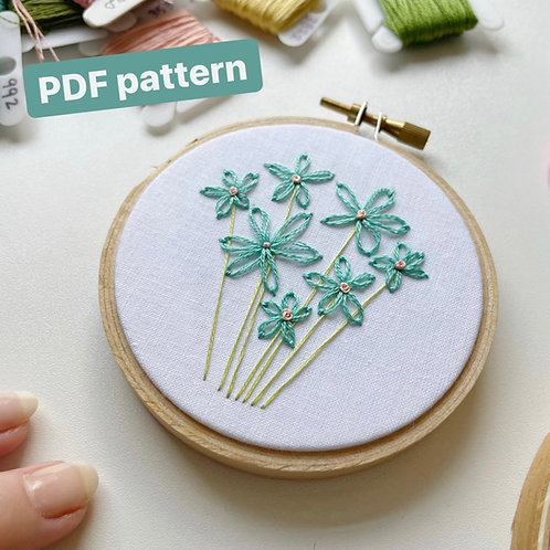 Detached Chain Stitch Embroidered Flowers (embroidery pattern)