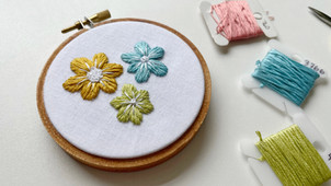 Three Step Embroidered Flowers
